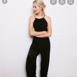 AE Don't Ask Why High Neck Jumpsuit Black Strappy